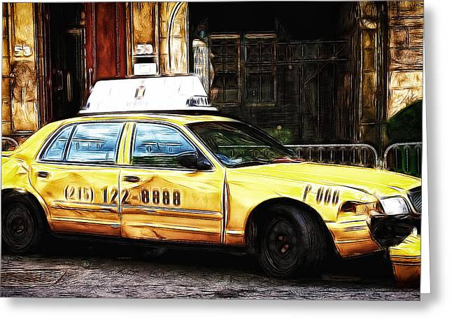 Ny Taxi Cab Greeting Card by Fiona Messenger