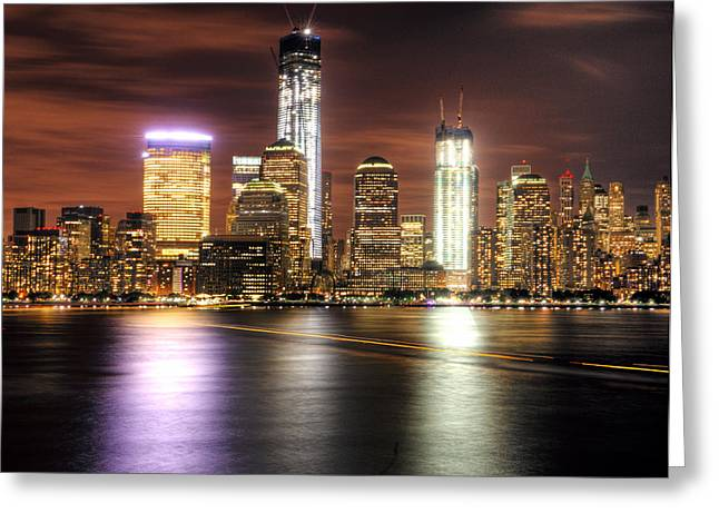 Nyc And The Ferry Boat Light Greeting Card by Vicki Jauron