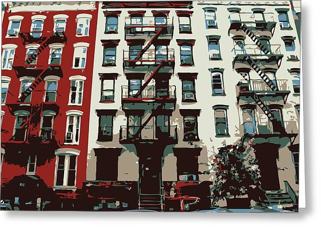 Nyc Apartment Color 6 Greeting Card by Scott Kelley