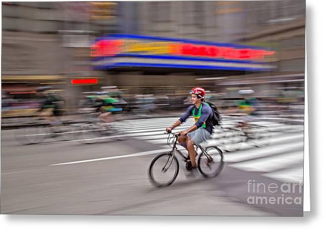 Nyc Bike Tour Greeting Card by Susan Candelario