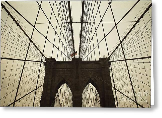 Nyc- Brooklyn Brige Greeting Card by Hannes Cmarits
