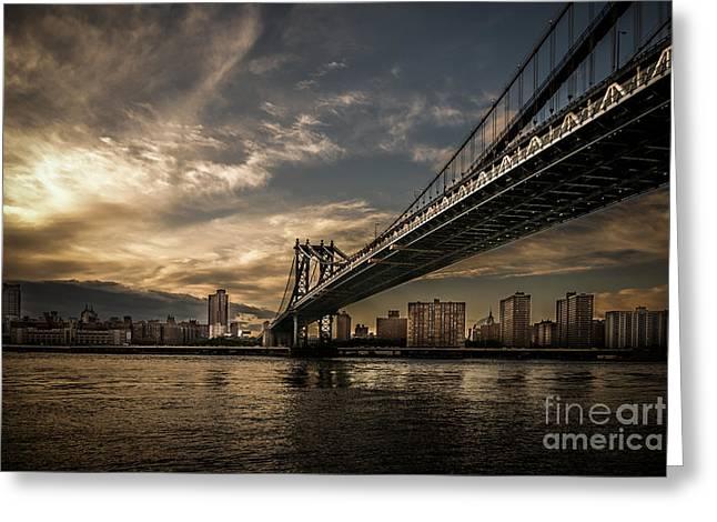 Nyc Golden Manhattan Bridge Greeting Card by Hannes Cmarits