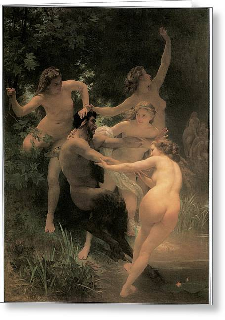 Nymphs And Satyr Greeting Card by Adolphe William Bouguereau