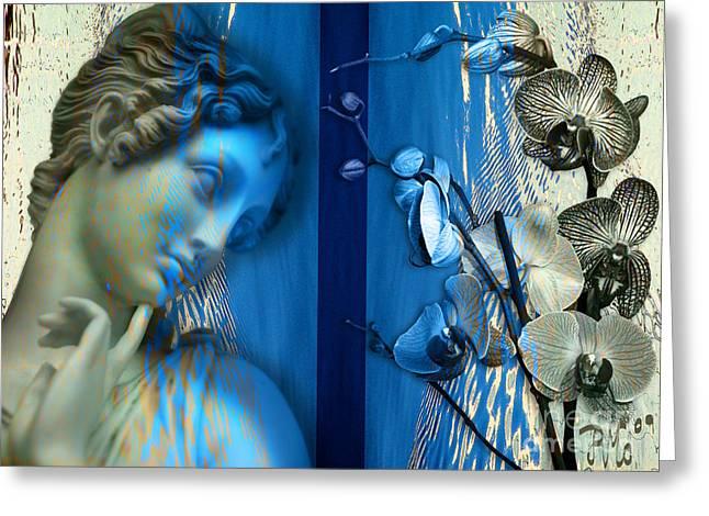 Greeting Card featuring the digital art O Tu... Suavissima Virga by Rosa Cobos