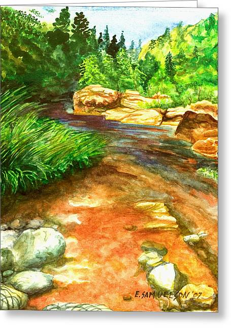 Oak Creek Red Greeting Card by Eric Samuelson