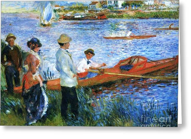 Oarsmen At Chatoli Greeting Card by Pg Reproductions