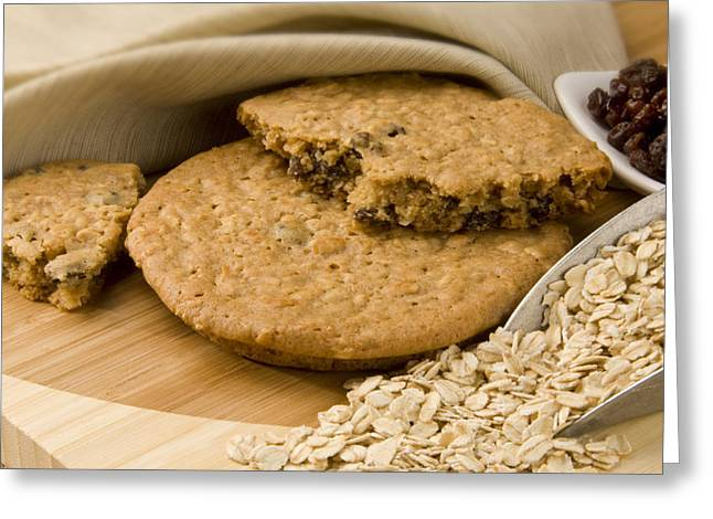 Oatmeal Raisin Cookie Greeting Card by Rob Outwater