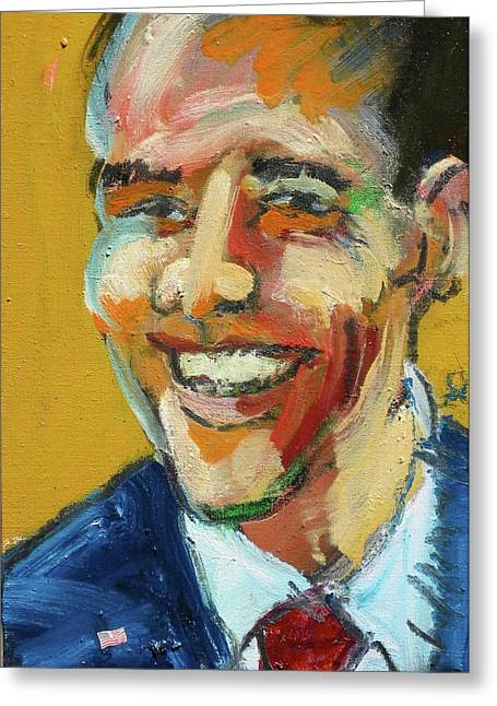 Greeting Card featuring the painting Obama by Les Leffingwell