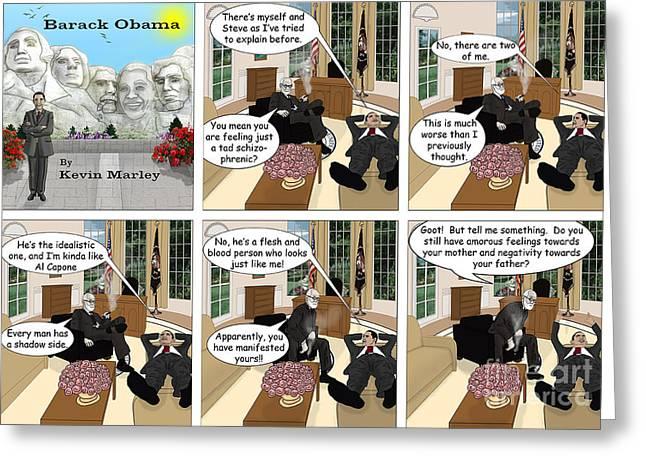 Obama N Freud I Greeting Card by Kevin  Marley