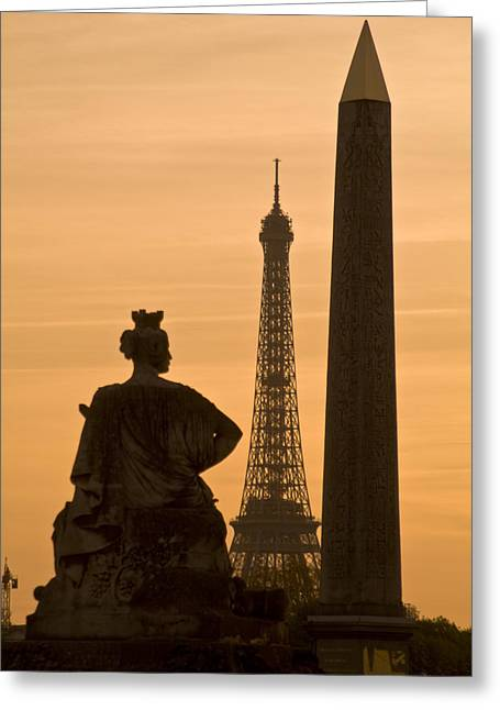 Obelisk Of Luxor, Eiffel Tower Greeting Card by Richard Nowitz