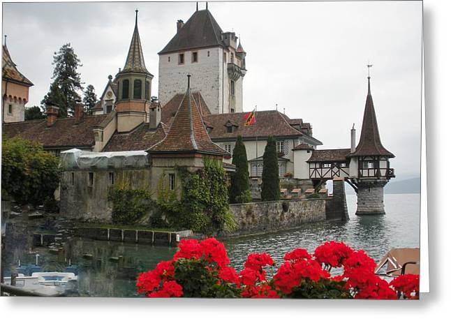 Oberhofen Castle Switzerland Greeting Card by Marilyn Dunlap
