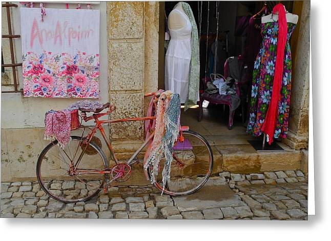 Greeting Card featuring the photograph Obidos Portugal Street Scene by Kirsten Giving