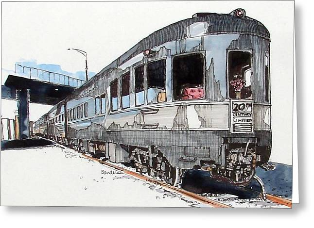 Greeting Card featuring the painting Observation Car by Terry Banderas