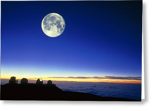 Observatories At Mauna Kea, Hawaii, With Full Moon Greeting Card
