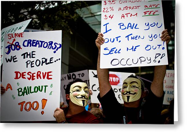Occupiers And Their Signs Greeting Card by Andres Leon