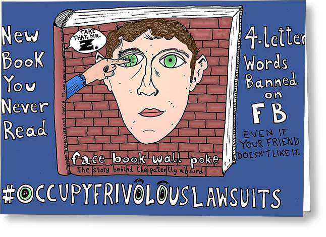 Occupy Frivolous Lawsuits Cartoon Greeting Card by Yasha Harari