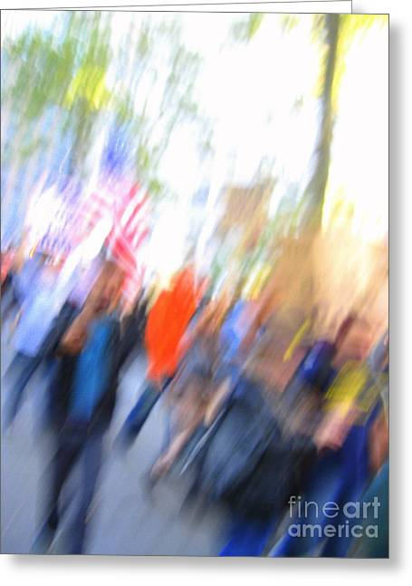 Occupy Wall Street Abstract Greeting Card by Maria Scarfone