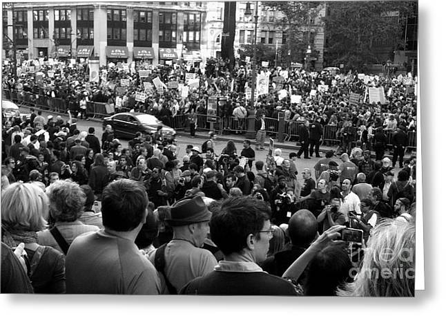 Occupy Wall Street Bw Greeting Card by Maria Scarfone