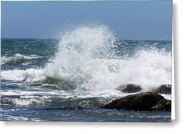 Greeting Card featuring the photograph Ocean Blast by Christine Drake