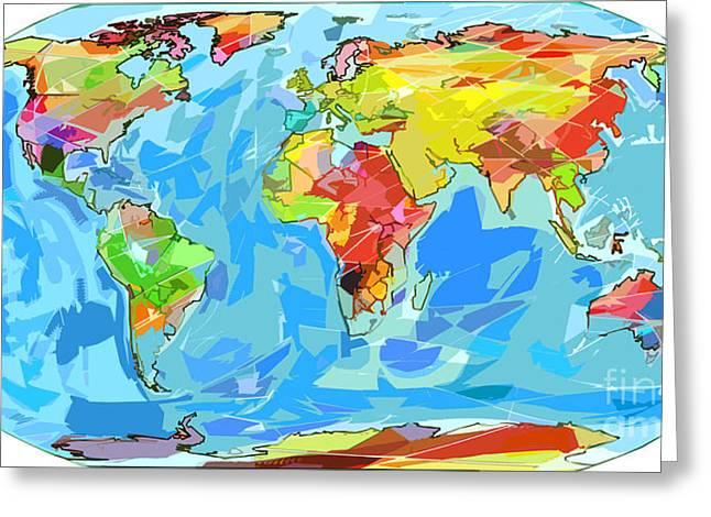 Ocean Currents World Map Greeting Card by David Lloyd Glover