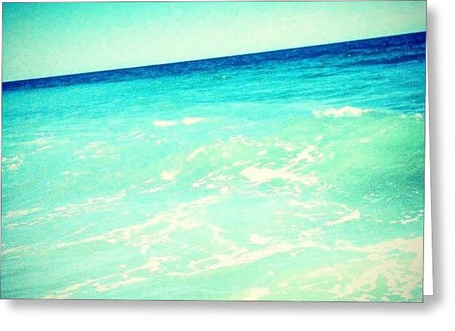 #ocean #plain #myrtlebeach #edit #blue Greeting Card by Katie Williams