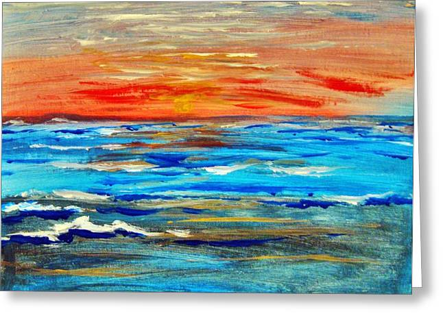 Greeting Card featuring the painting Ocean Sunset by Amanda Dinan