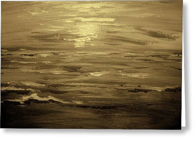 Greeting Card featuring the painting Ocean Sunset Blk Wht by Amanda Dinan