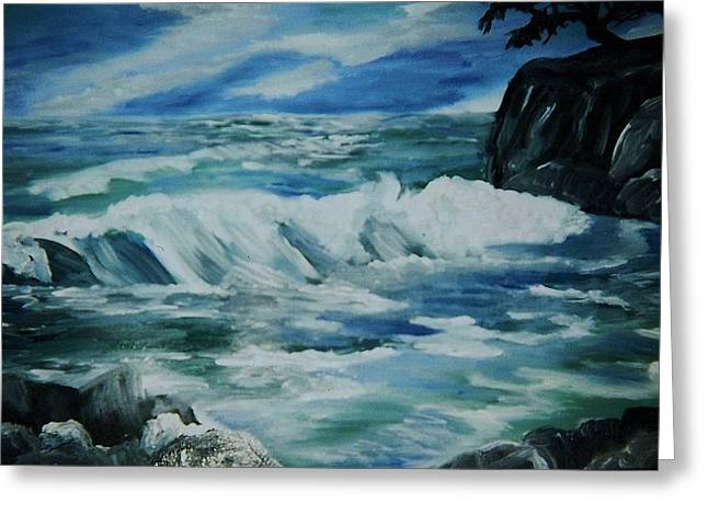Greeting Card featuring the painting Ocean Waves by Christy Saunders Church