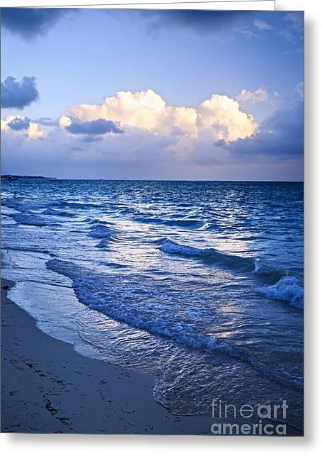 Ocean Waves On Beach At Dusk Greeting Card