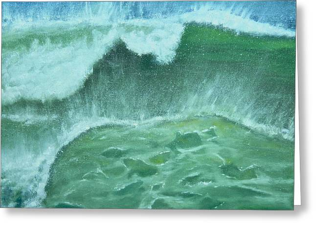 Greeting Card featuring the painting Ocean's Green by Dawn Harrell