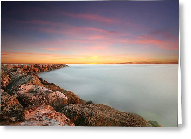 Oceanside Harbor Jetty Sunset Greeting Card