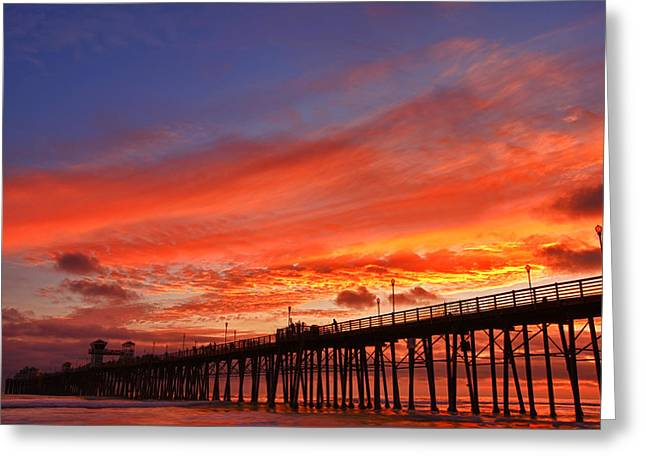 Oceanside Pier Sunset Greeting Card by Larry Marshall