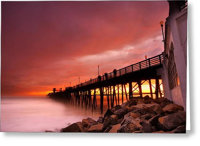 Oceanside Sunset 2 Greeting Card by Larry Marshall