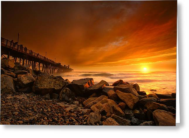 Oceanside Sunset 4 Greeting Card by Larry Marshall