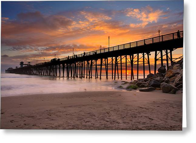 Oceanside Sunset 7 Greeting Card by Larry Marshall