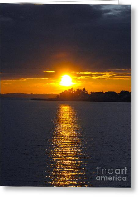 October Connecticut Sunset Greeting Card by Cindy Lee Longhini