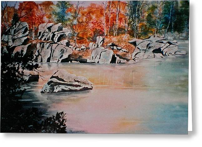 October On The Little Wolf River Greeting Card by Carolyn Rosenberger