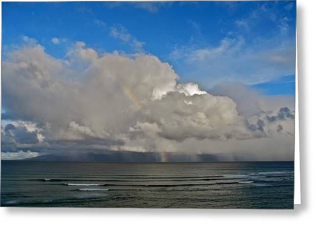 Greeting Card featuring the photograph October Rainbow In Maui by Kirsten Giving