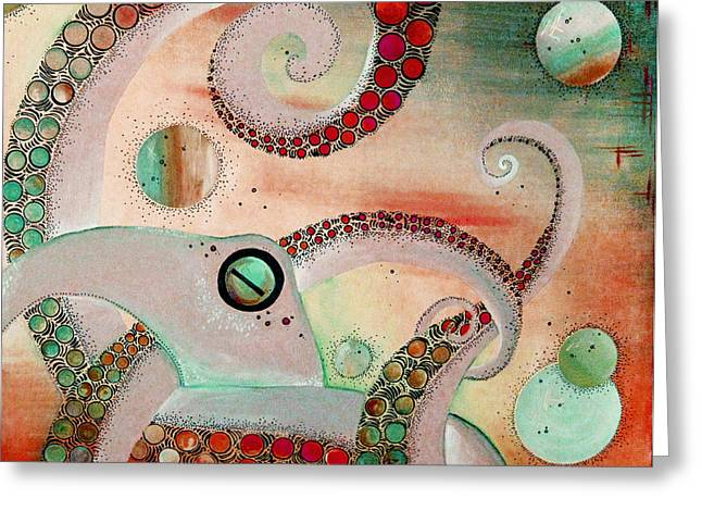 Octopus Tangle Greeting Card by Adrienne McMahon