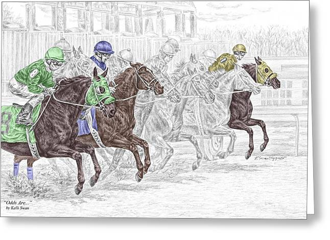 odds are tb horse racing print color tinted greeting card by kelli swan - Horse Pictures Print Color