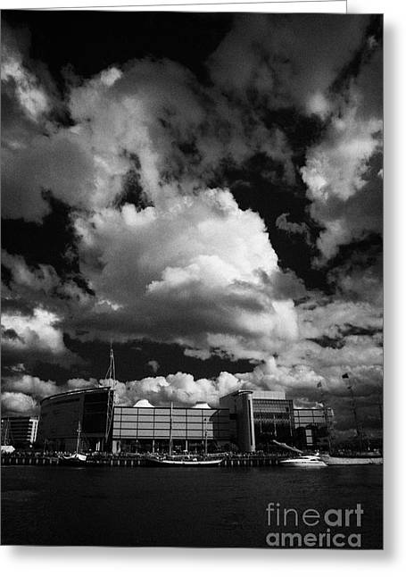odyssey building and river lagan during the tall ships visit to Belfast in 2009 during Belfast  Greeting Card by Joe Fox
