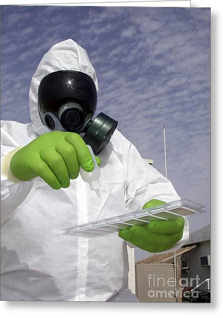 Officer Holds A Chemical Testing Kit Greeting Card