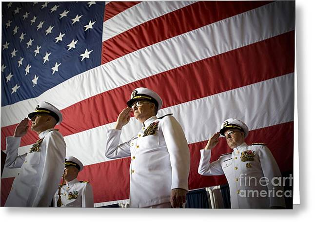 Officers Render Honors During A Change Greeting Card by Stocktrek Images