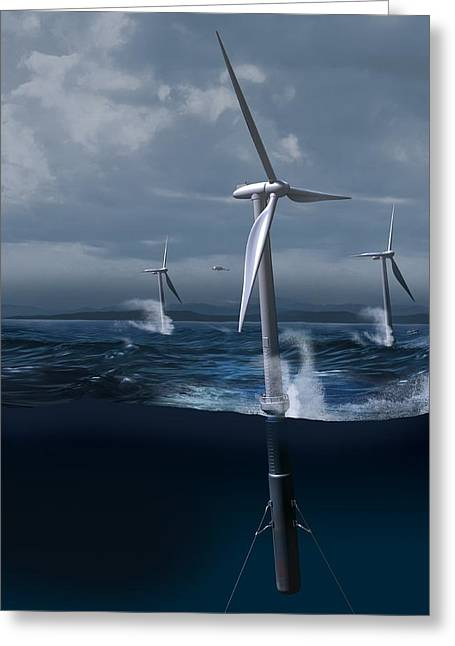Offshore Wind Farm In A Storm, Artwork Greeting Card by Claus Lunau
