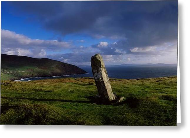 Ogham Stone At Dunmore Head, Dingle Greeting Card by The Irish Image Collection
