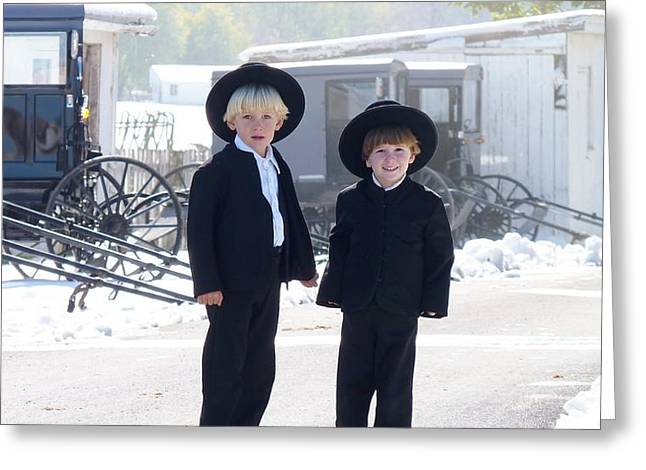 Oh So Cute Amish Boys Greeting Card by Jeanette Oberholtzer