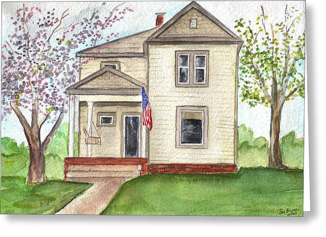 Greeting Card featuring the painting Ohio Cottage With Flag by Clara Sue Beym