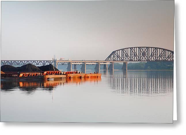 Ohio River Coal Barge II Greeting Card