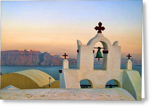 Oia In Santorini Greeting Card by David Smith