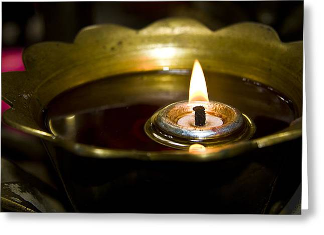 Oil Burner In A Chinese Temple Greeting Card